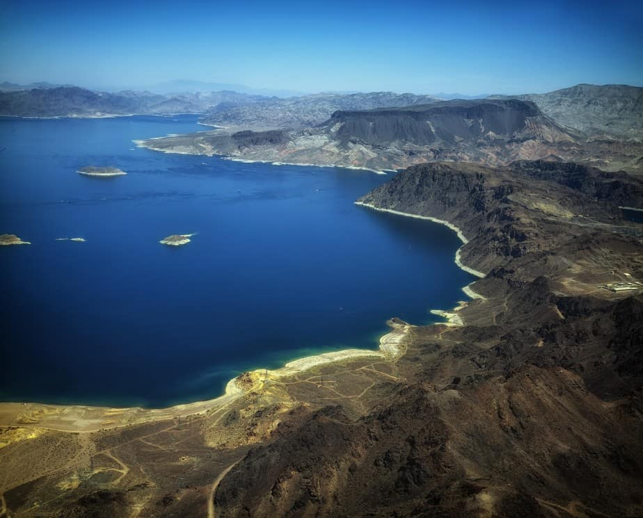 Lake Mead was formed from the Hoover Dam and lay between the Nevada and Arizona